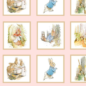 Peter Rabbit Quilt Block Panel No. 2  - Light Pink