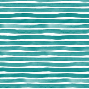 Teal Watercolor Stripes by Friztin