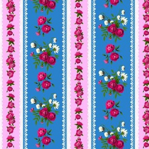 Small Rose Floral Ticking