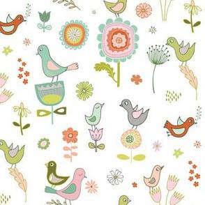 Birds in the Spring - white