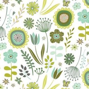 Meadow - Springtime, White & green