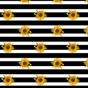 Sunflowers on Black and White Stripes