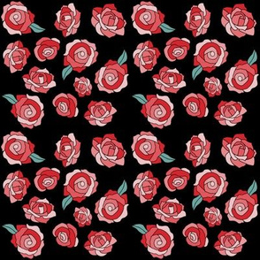 Cartoon Pink and Red Roses