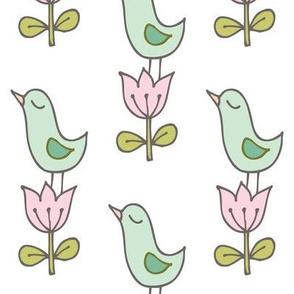 Little bird on a flower - white