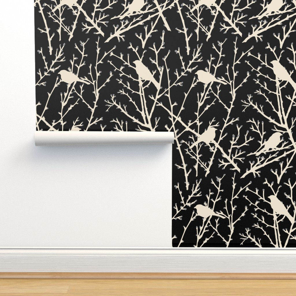 Isobar Durable Wallpaper featuring branchy bird - black/sand by cinneworthington