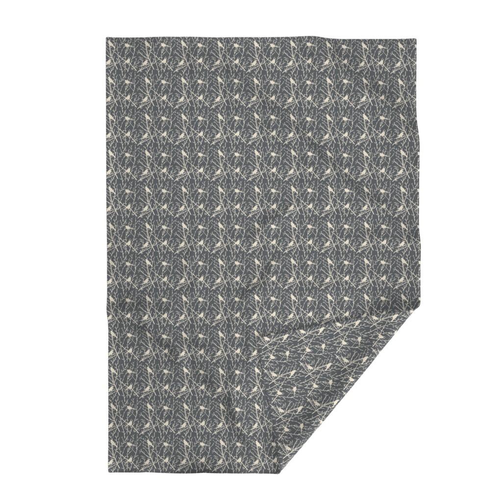 Lakenvelder Throw Blanket featuring branchy bird - grey/sand by cinneworthington