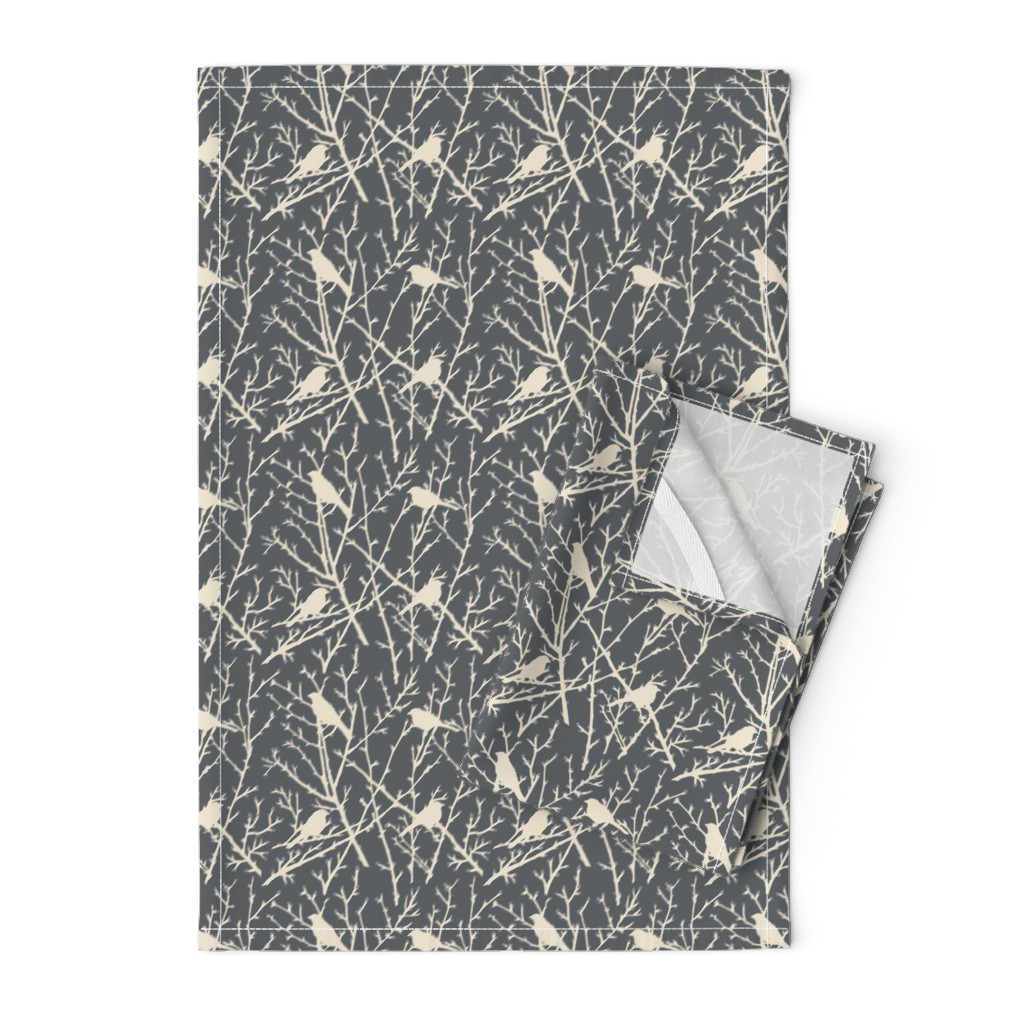 Orpington Tea Towels featuring branchy bird - grey/sand by cinneworthington