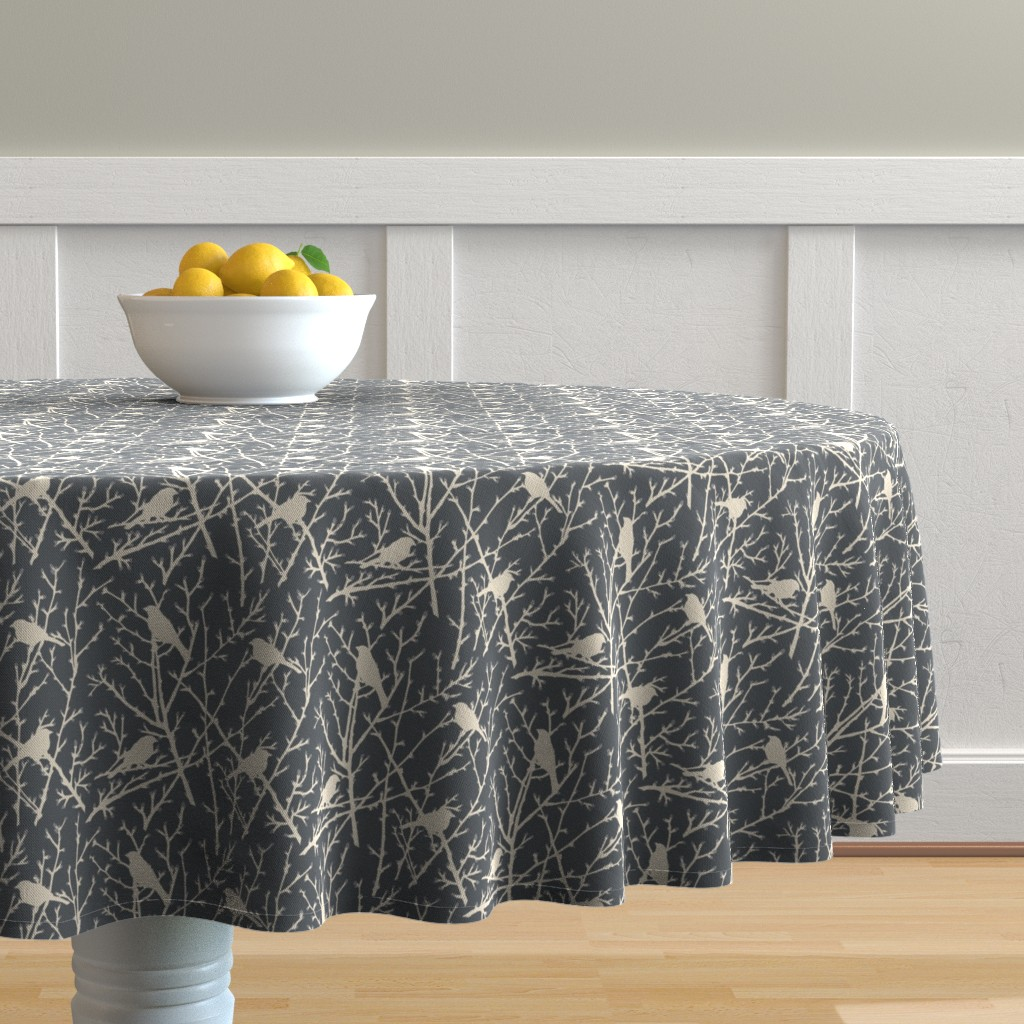 Malay Round Tablecloth featuring branchy bird - grey/sand by cinneworthington