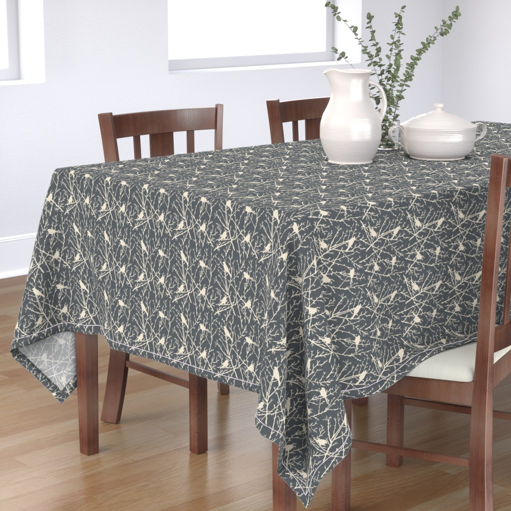 Bantam Rectangular Tablecloth featuring branchy bird - grey/sand by cinneworthington