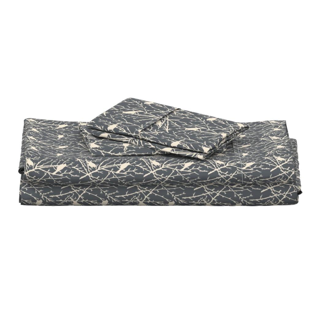 Langshan Full Bed Set featuring branchy bird - grey/sand by cinneworthington