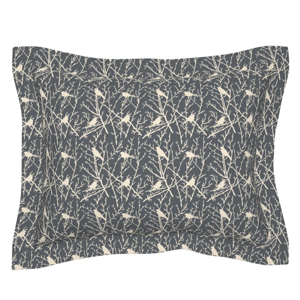 Sebright Pillow Sham featuring branchy bird - grey/sand by cinneworthington