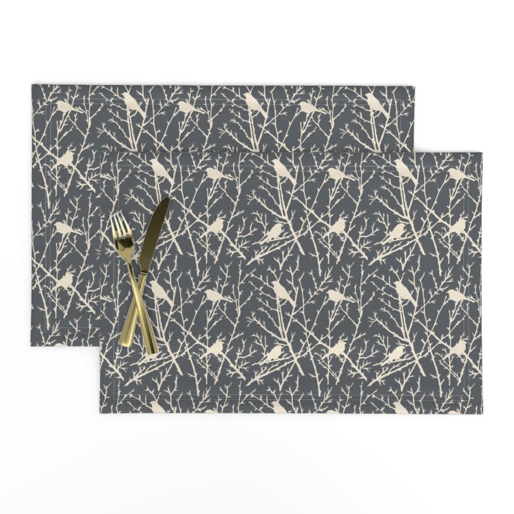 Lamona Cloth Placemats featuring branchy bird - grey/sand by cinneworthington