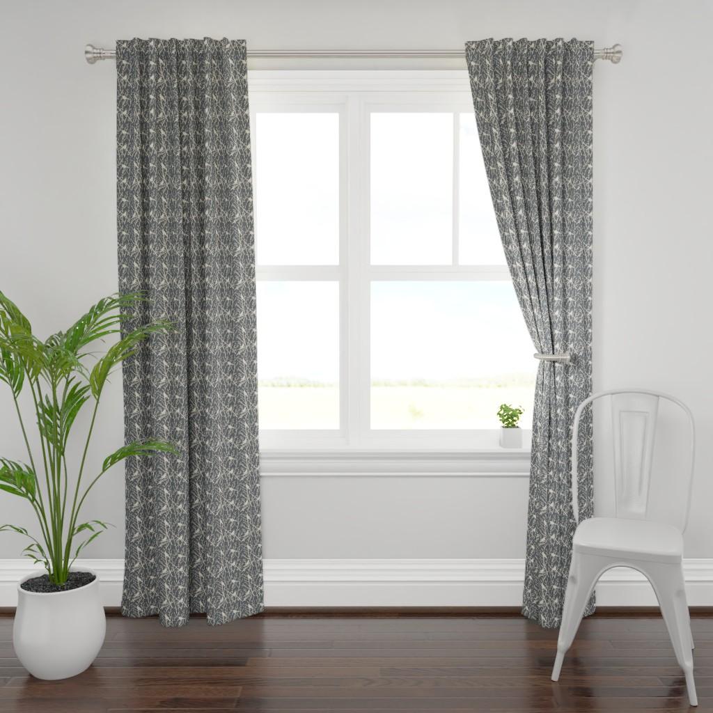 Plymouth Curtain Panel featuring branchy bird - grey/sand by cinneworthington