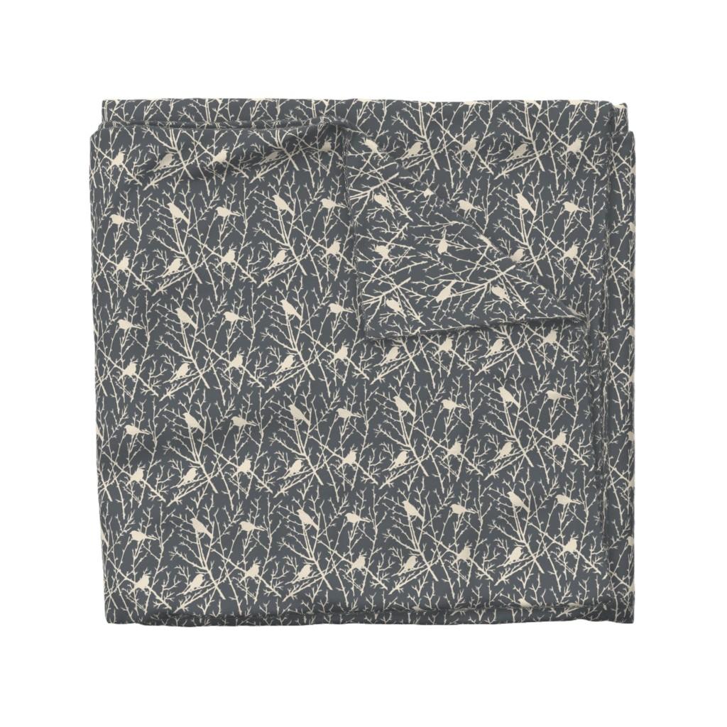 Wyandotte Duvet Cover featuring branchy bird - grey/sand by cinneworthington