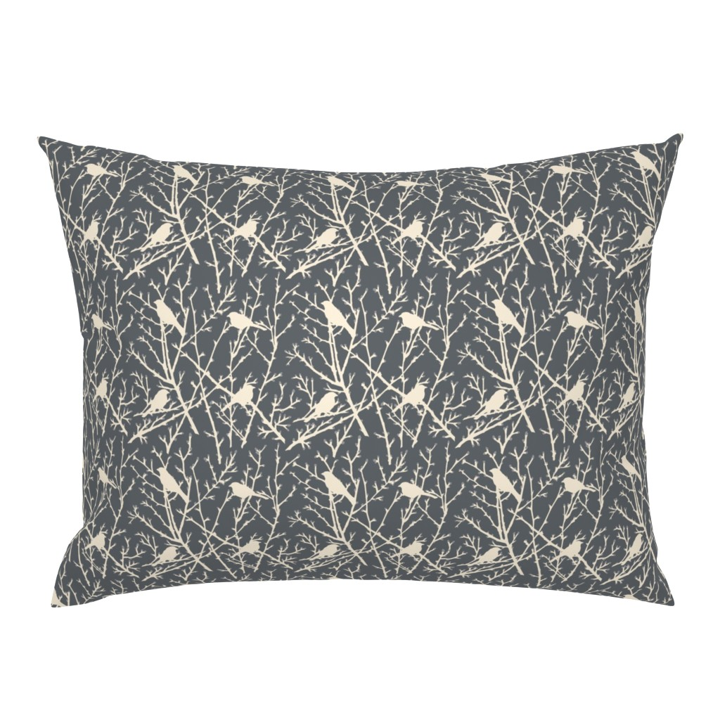 Campine Pillow Sham featuring branchy bird - grey/sand by cinneworthington