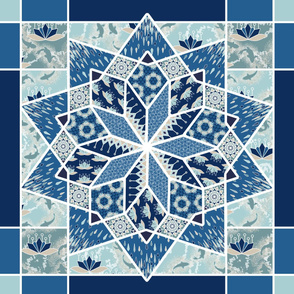 Star Quilt Squares in Blue and Aqua, Wholecloth Quilt
