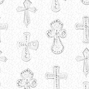 Large Watercolor Crosses on White Polka dot  || Neutral Gray Grey  Religious Christian Jesus _Miss Chiff Designs