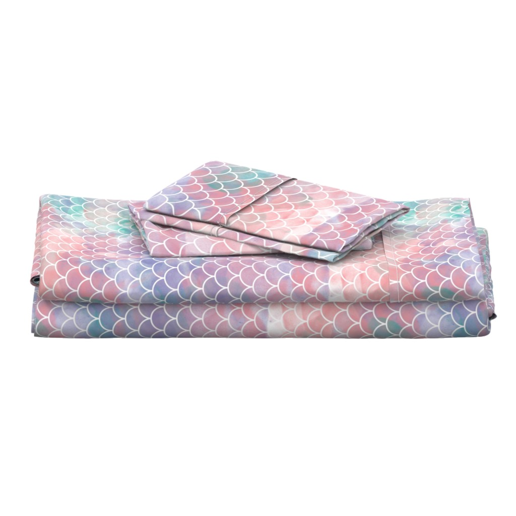 Langshan Full Bed Set featuring Watercolor Mermaid Scales by christineweenk