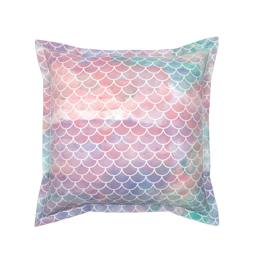 Serama Throw Pillow featuring Watercolor Mermaid Scales by christineweenk