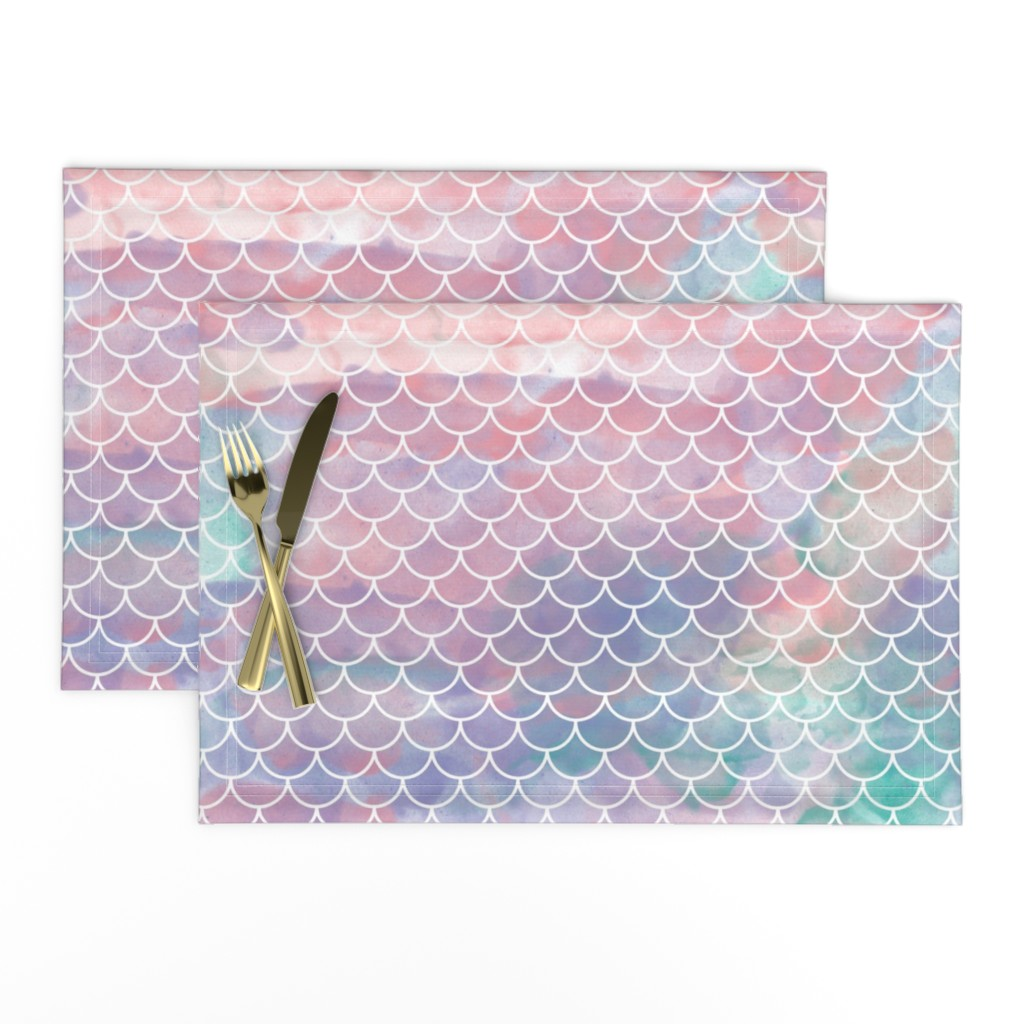 Lamona Cloth Placemats featuring Watercolor Mermaid Scales by christineweenk