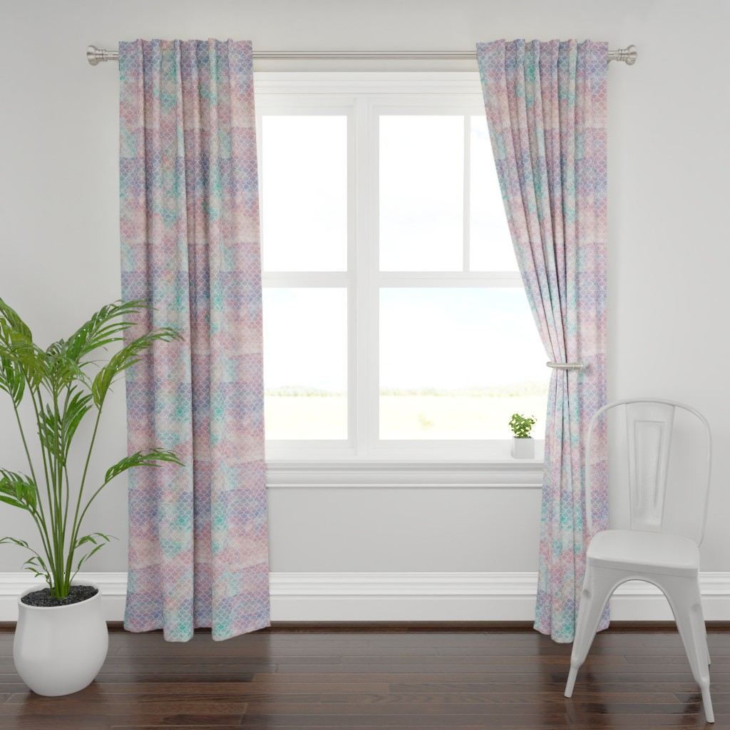 Plymouth Curtain Panel featuring Watercolor Mermaid Scales by christineweenk