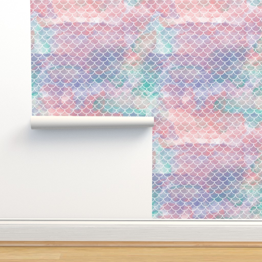 Isobar Durable Wallpaper featuring Watercolor Mermaid Scales by christineweenk