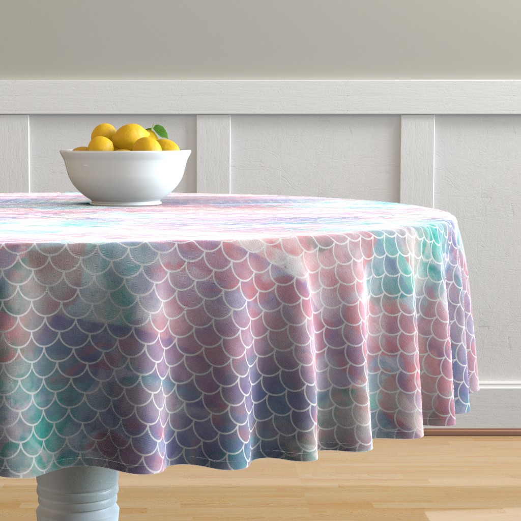 Malay Round Tablecloth featuring Watercolor Mermaid Scales by christineweenk