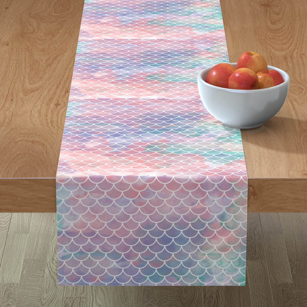 Minorca Table Runner featuring Watercolor Mermaid Scales by christineweenk