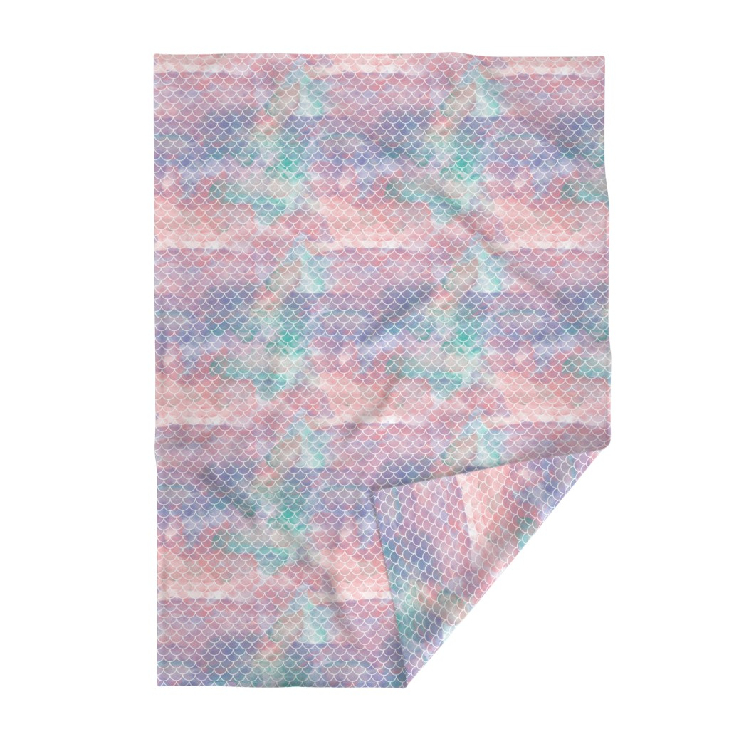 Lakenvelder Throw Blanket featuring Watercolor Mermaid Scales by christineweenk