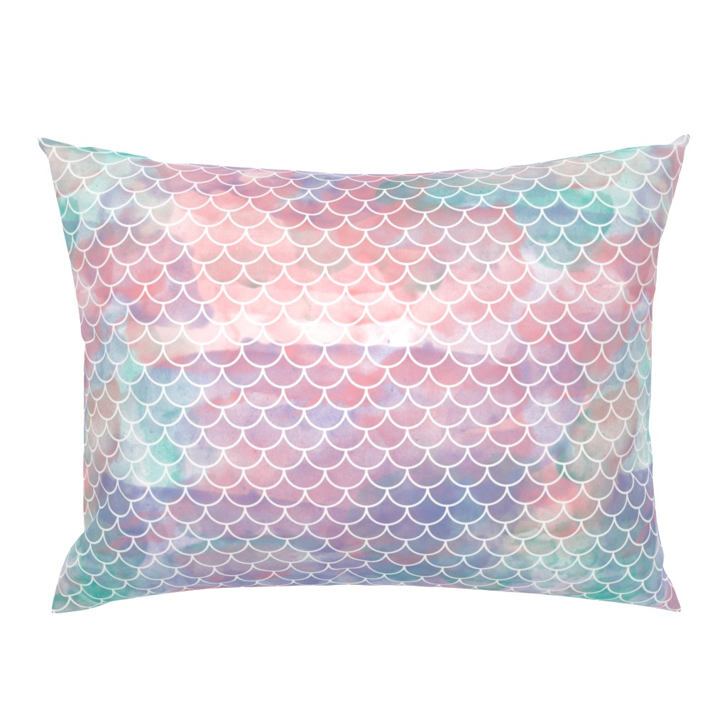 Campine Pillow Sham featuring Watercolor Mermaid Scales by christineweenk
