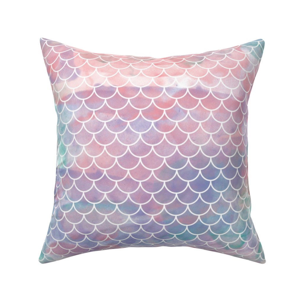 Catalan Throw Pillow featuring Watercolor Mermaid Scales by christineweenk