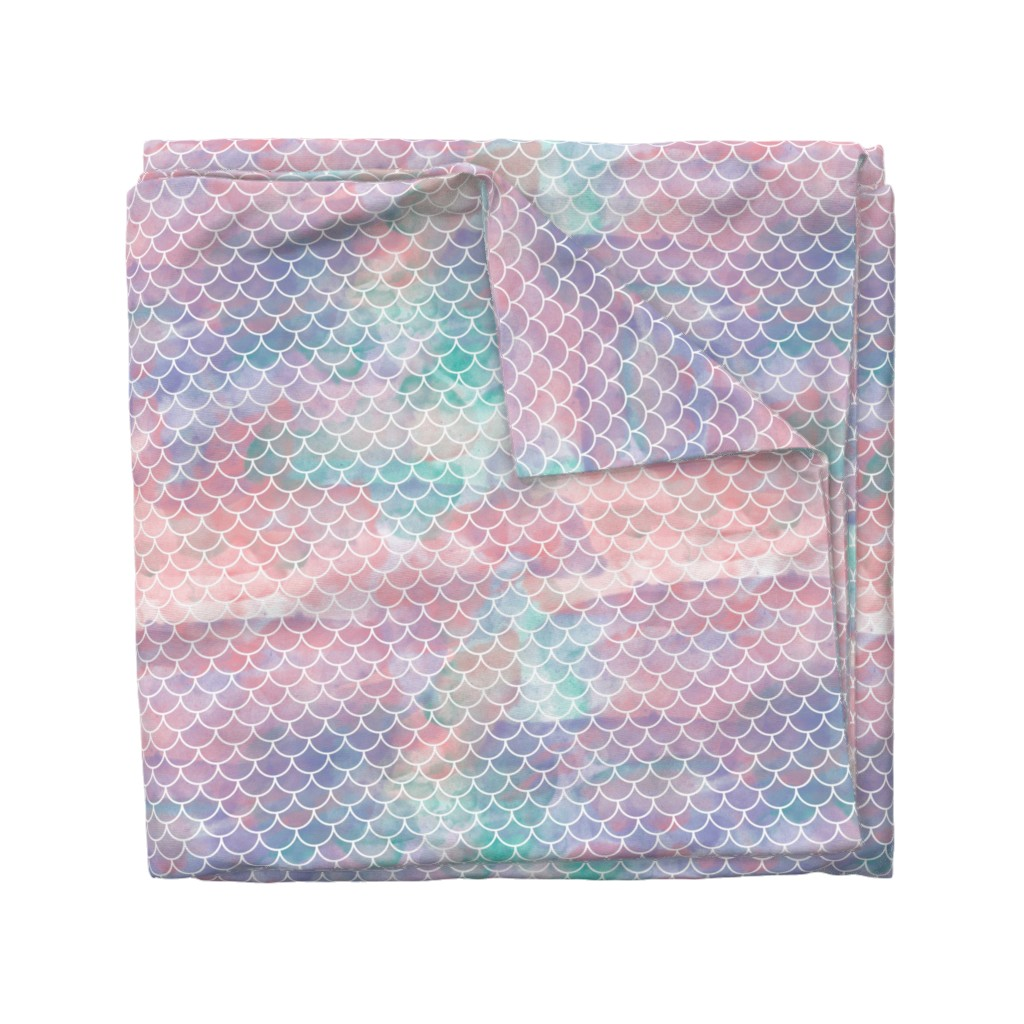 Wyandotte Duvet Cover featuring Watercolor Mermaid Scales by christineweenk
