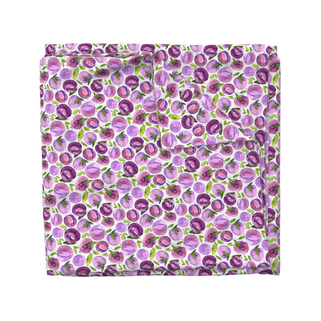 Wyandotte Duvet Cover featuring Watercolor plums on white background by graphicsdish