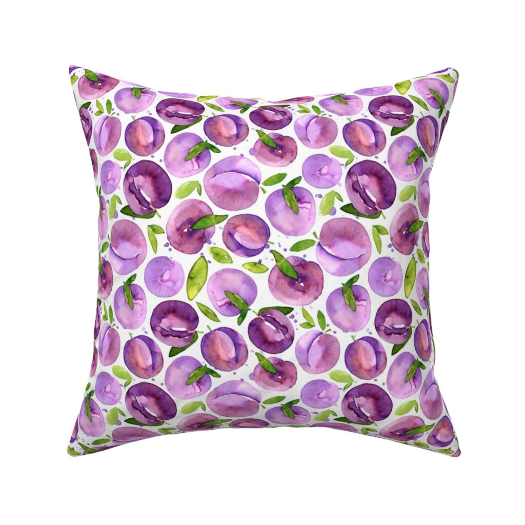 Catalan Throw Pillow featuring Watercolor plums on white background by graphicsdish