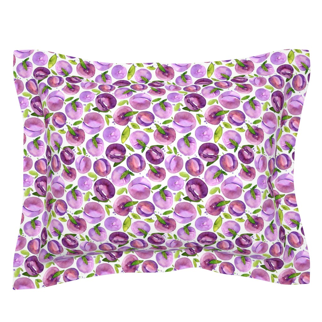 Sebright Pillow Sham featuring Watercolor plums on white background by graphicsdish