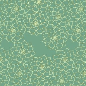 Small Succulent Background (yellow on sage)