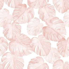 (small scale) watercolor monstera leaf - dusty pink