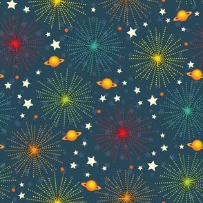 Space Alphabet Fireworks scatter print