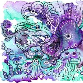 Fantastic Creatures on watercolor