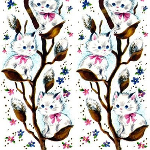 cats kittens pussies pussy willows puns plants trees flowers bows ribbons seamless flower buds vintage retro kitsch vines creepers floral climbers
