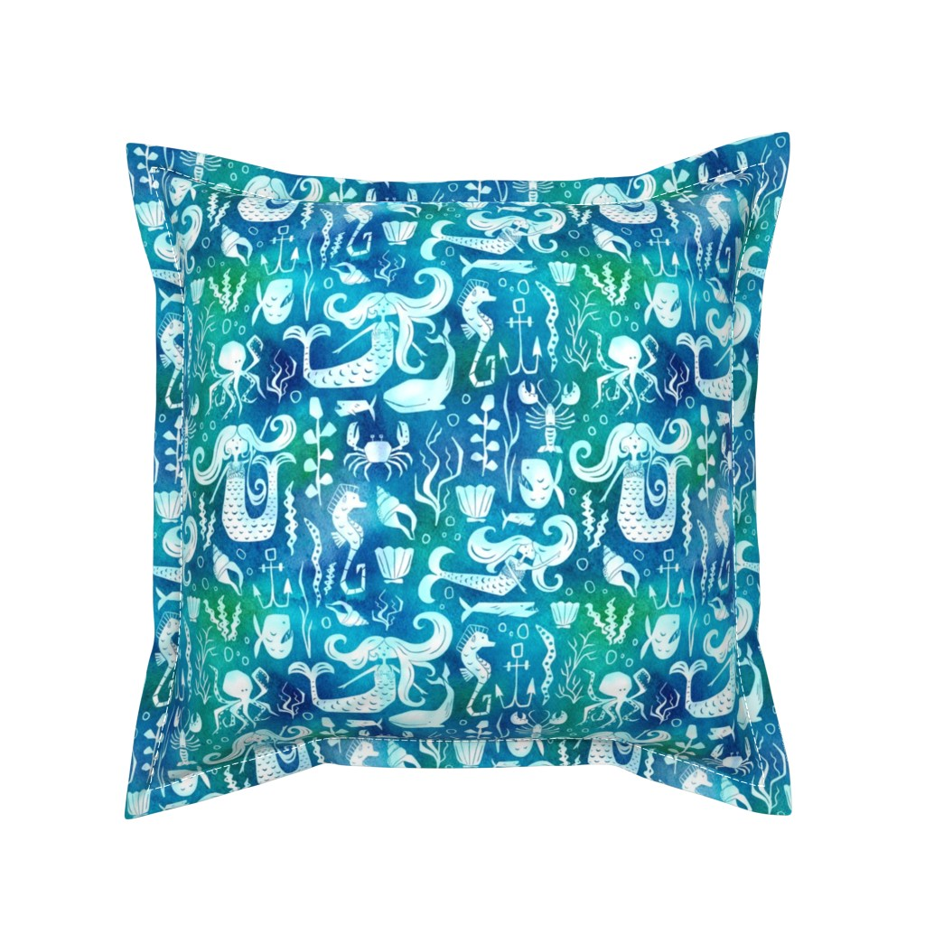 Serama Throw Pillow featuring Under The Sea - Nautical Mermaid Watercolor Blue by heatherdutton