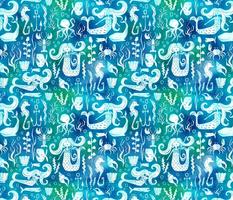 Under The Sea - Nautical Mermaid Watercolor Blue