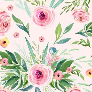 Patterns of peach flowers & roses