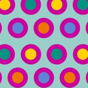 Dots (bright pink on light teal)