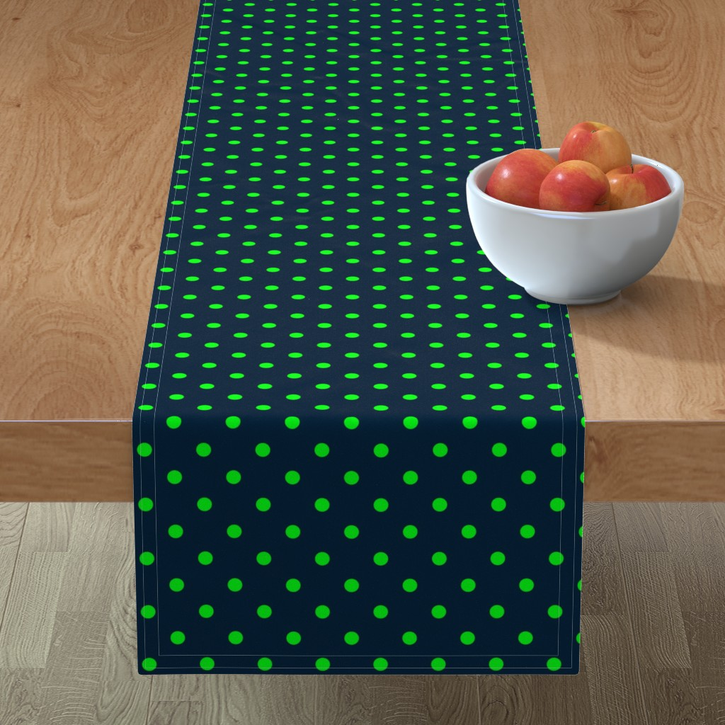 Minorca Table Runner featuring Navy and Lime Polka Dots by paper_and_frill