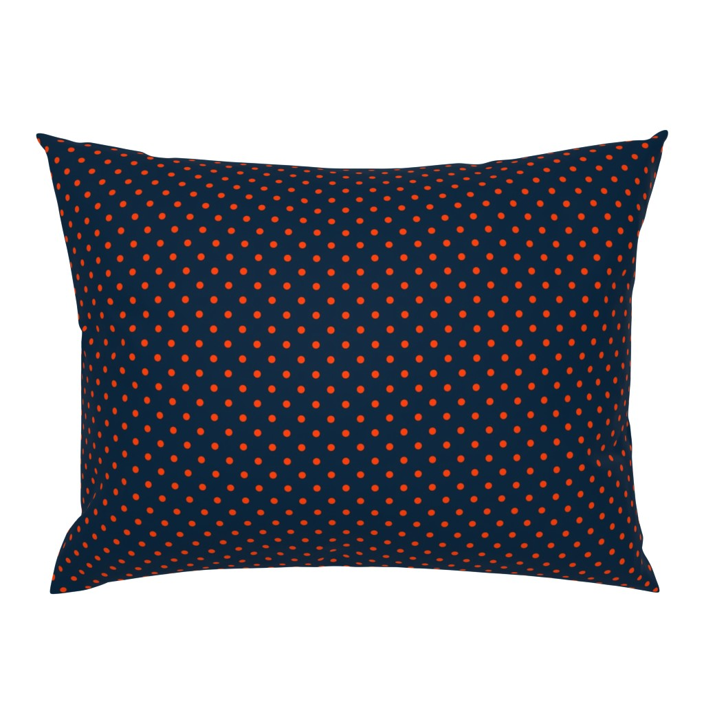 Campine Pillow Sham featuring Mini Navy and Orange Polka Dots by paper_and_frill