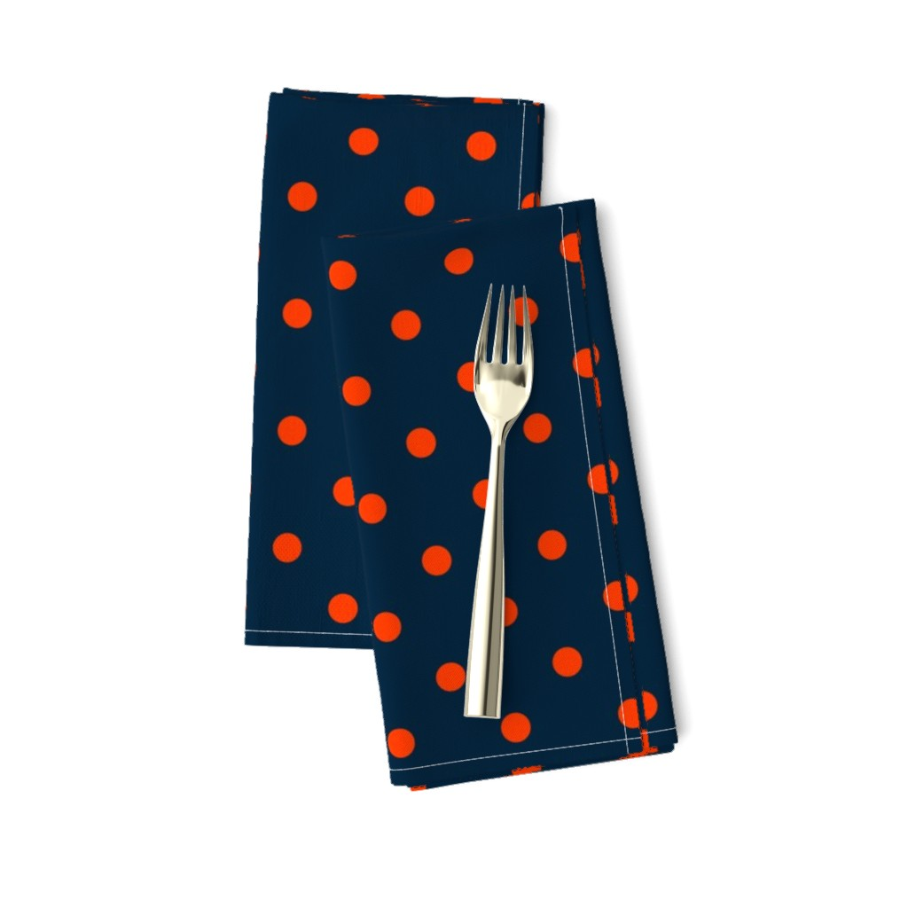 Amarela Dinner Napkins featuring Navy and Orange Polka Dots by paper_and_frill