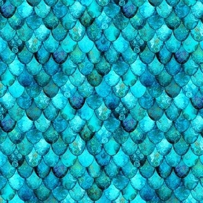 SMALL Aqua + Turquoise Mermaid or Dragon Scales by Su_G_©SuSchaefer