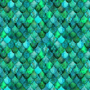 SMALL Greens + Aquamarine Mermaid or Dragon Scales, after Fabergé, by Su_G_©SuSchaefer