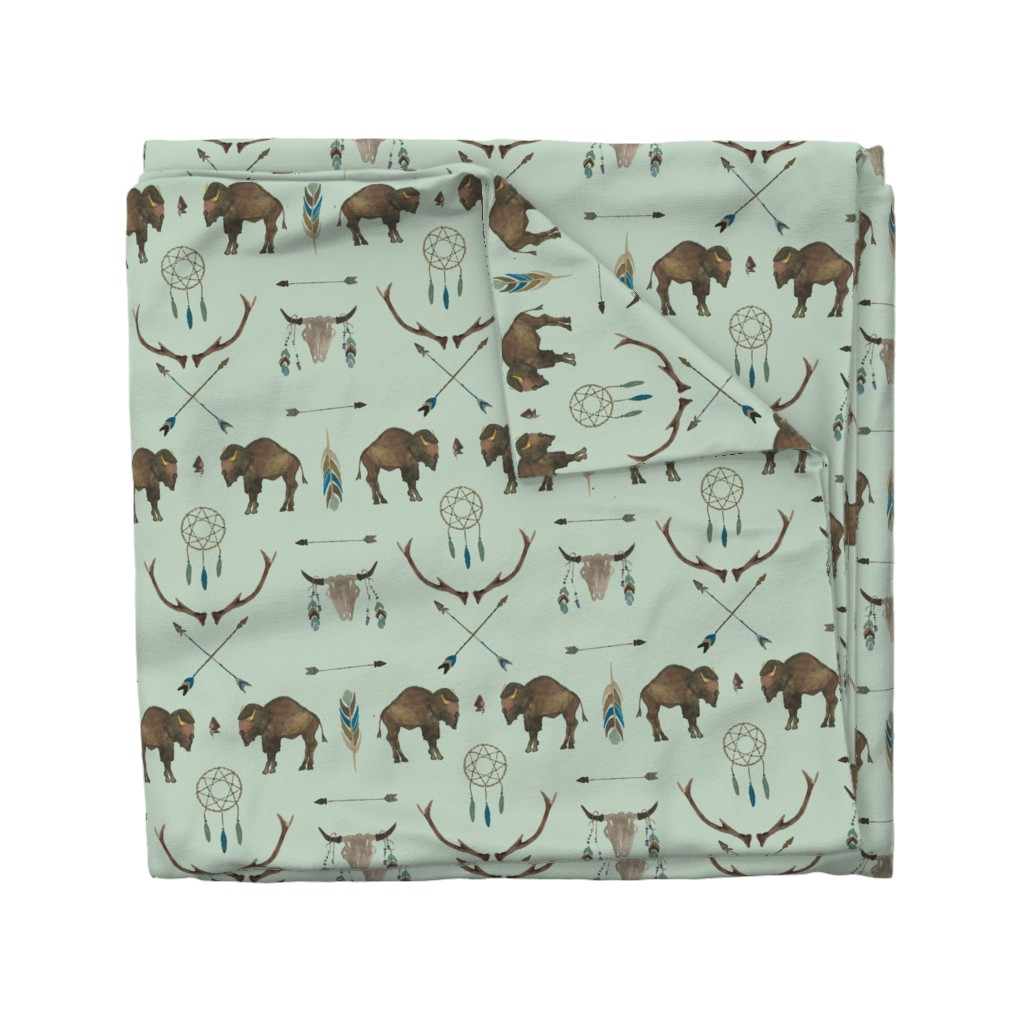 Wyandotte Duvet Cover featuring Sage Prairie Buffalo by paper_and_frill
